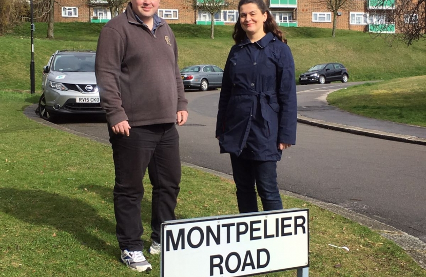 Councillors Simon Hoar and Helen Redfern on Montpelier Road