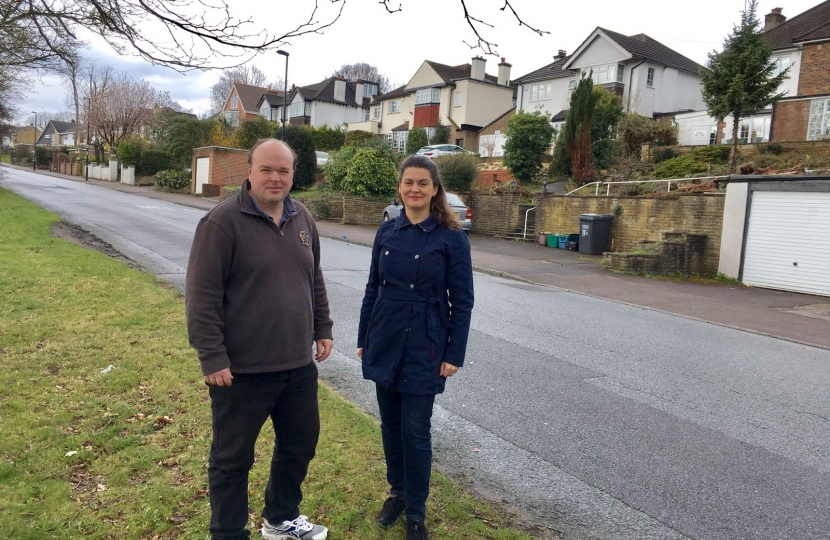 Councillors Helen Redfern and Simon Hoard in Riddlesdown Road